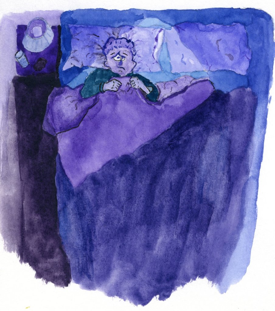 A watercolor of a man in bed not sleeping