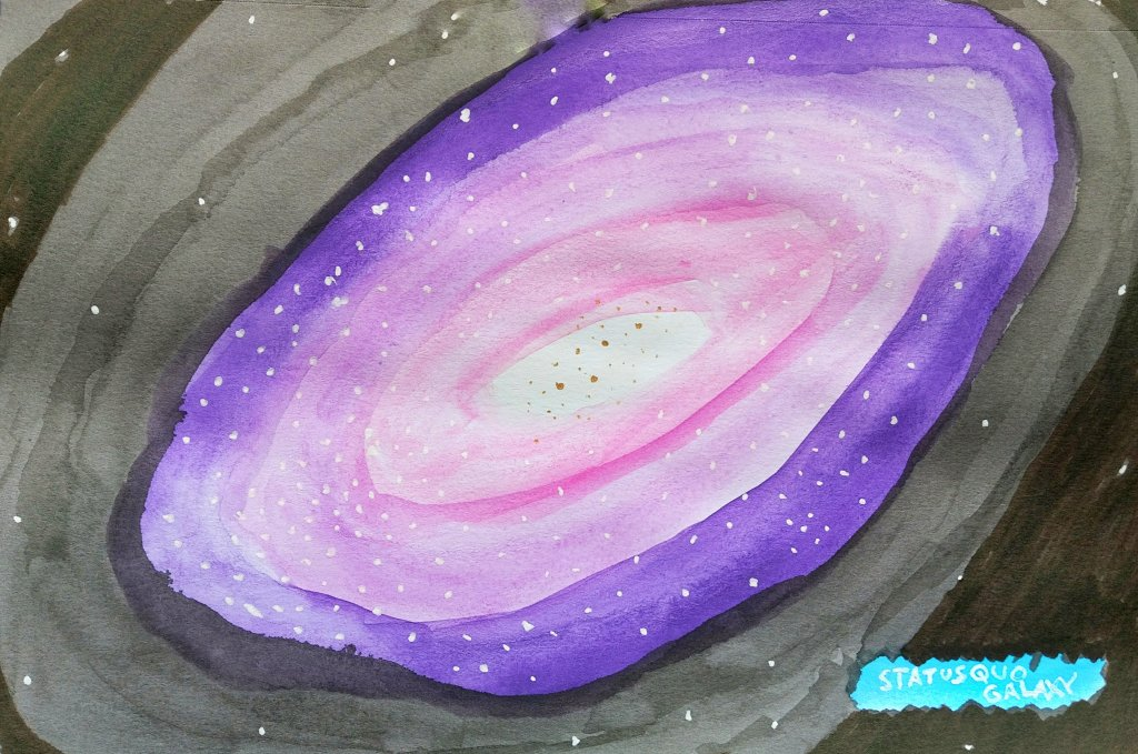 A watercolor painting of a pink, purple galaxy titled