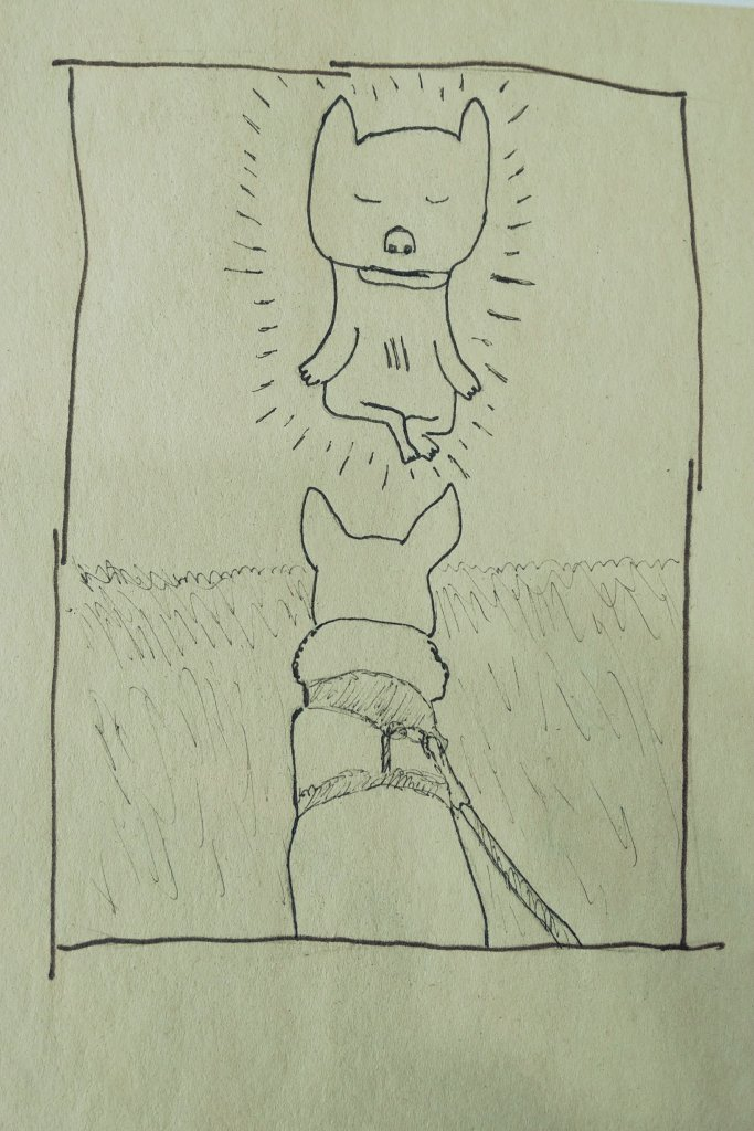 A drawing of my small dog on a leash looking at my morning mantra meditating guru dog.