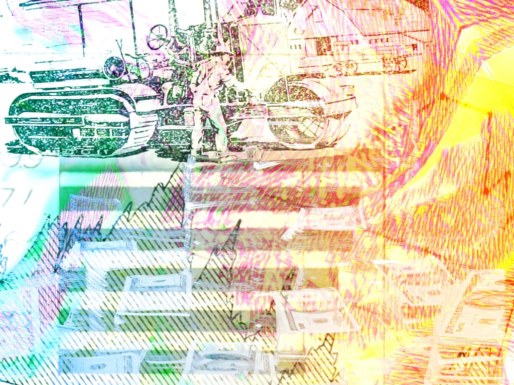 A digital collage of graphs money and a worker