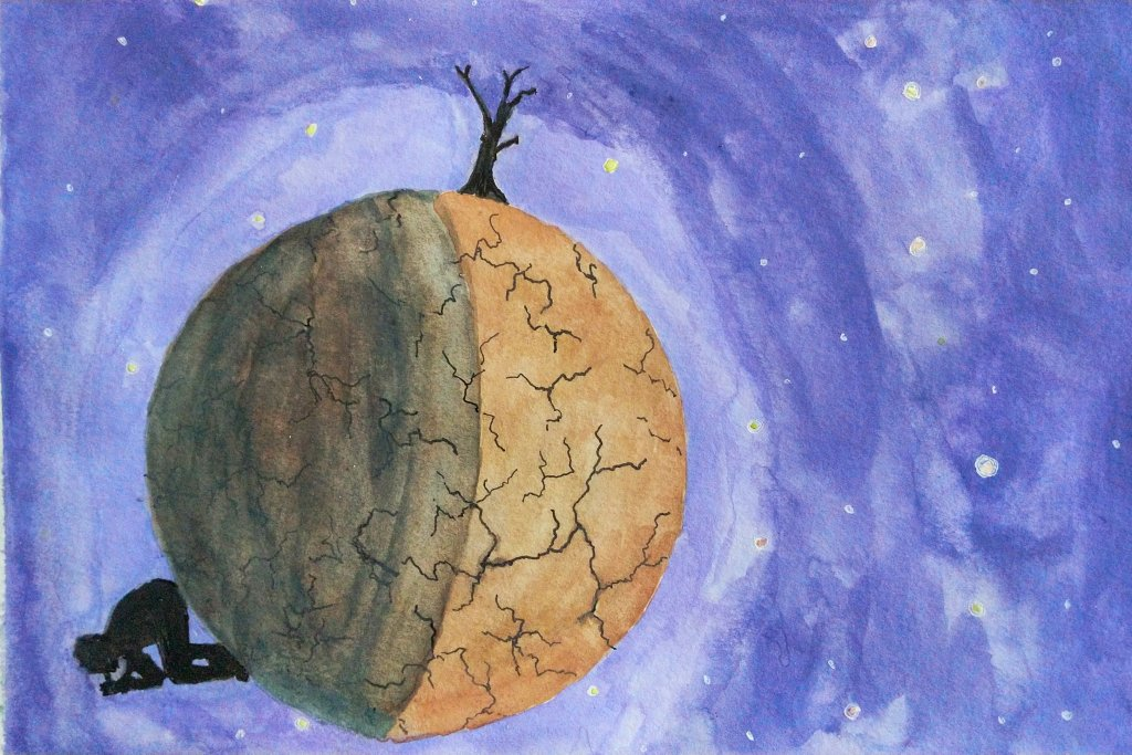 a pensive person sitting on the darkside of a small dried out planet in watercolor