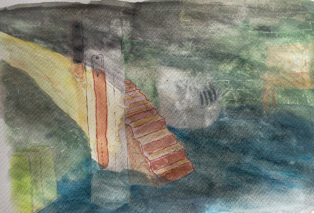 A watercolor painting of a belt hanging on a pillar in a dark basement