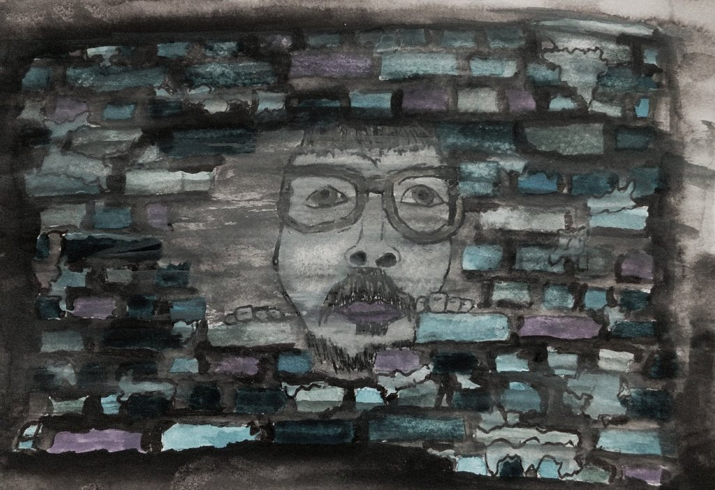 me behind a brickwall in a watercolor painting