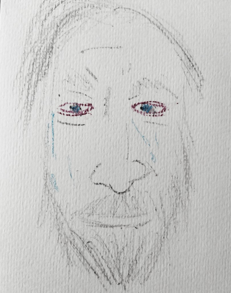 oil pastel sketch of me crying in gray with red eyes and blue tears