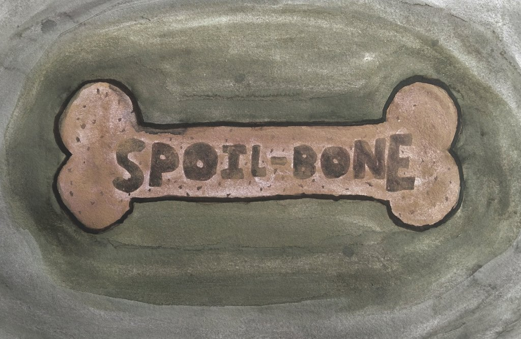 watercolor painting of olive green and gray background with brown dog bone in the middle