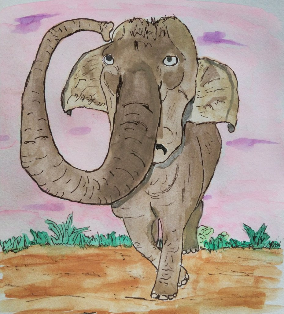 Watercolor elephant scratching his head with trunk