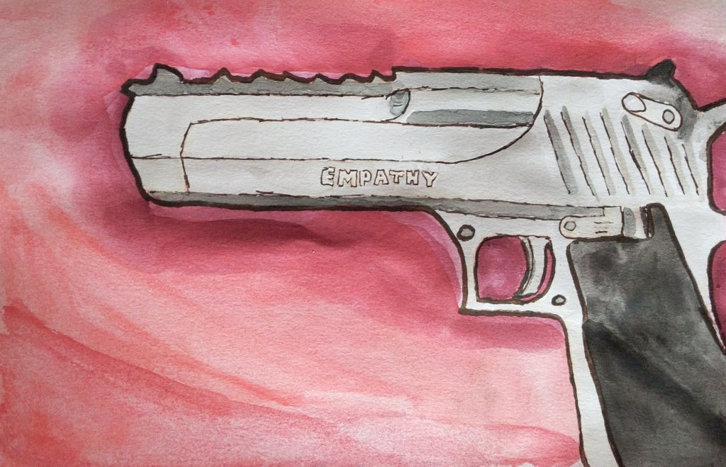 An image of a handgun with the word Empathy engraved on it, painted in watercolor