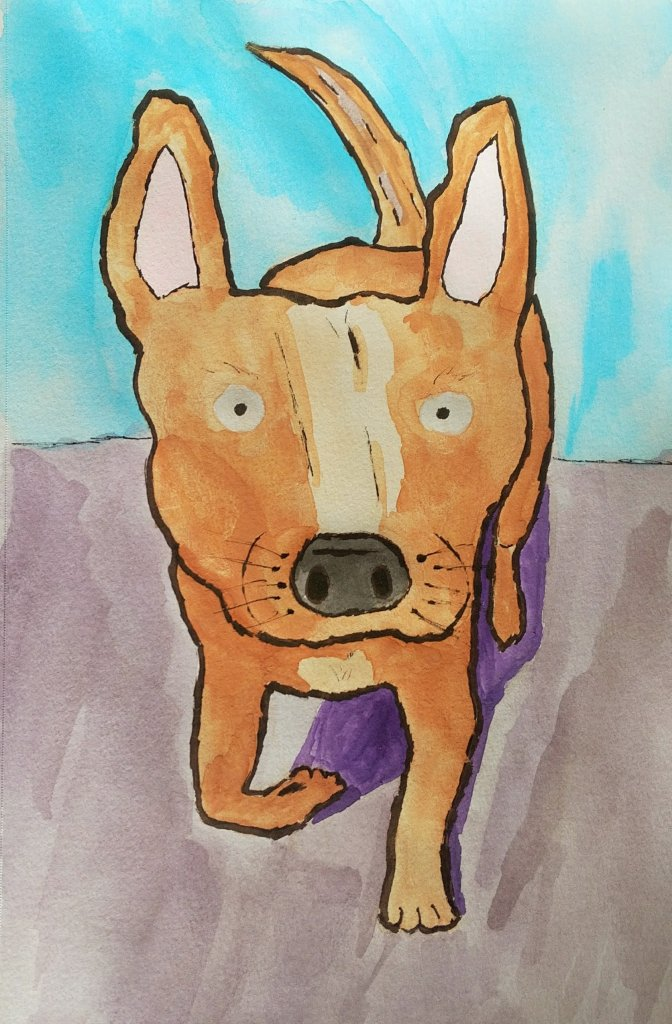 A watercolor painting of a small brown dog walking, It's Mantra Mutt.